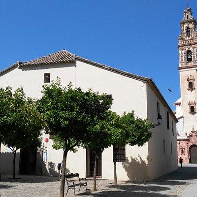 Fachada del Museo Municipal de Palma del Río, con la Iglesia de la Asunción al fondo.