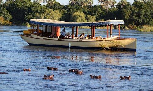Luxury river cruise aboard the Ra-Ikane on the Zambezi River, Victoria Falls.