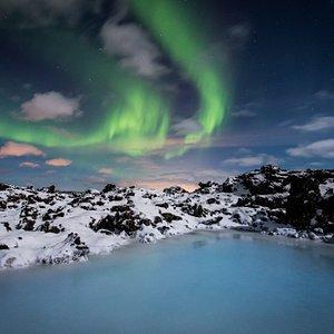 Blue Lagoon Iceland northern lights