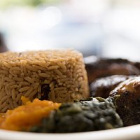 Rice and Peas, Veges and Jerk Chicken