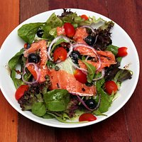Smoked salmon salad look a delicious, In Nakhon Nayok.