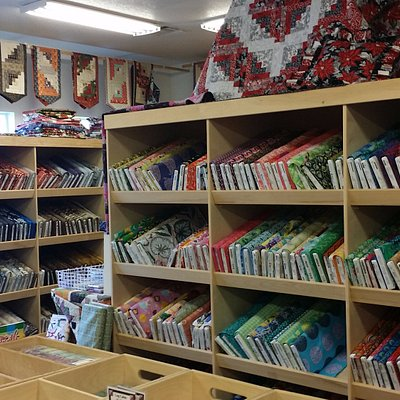 Just one view of the many quilts and fabrics on display - a must see for the travelling quilter