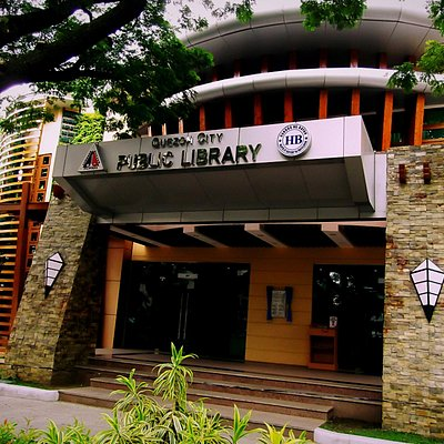 The front entrance of the Quezon city Public Library