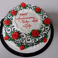 Anniversary Cake / Elegant Scroll W/ Flowers