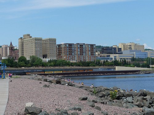view of Duluth from Lakewalk