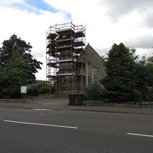 scaffolding on bell tower