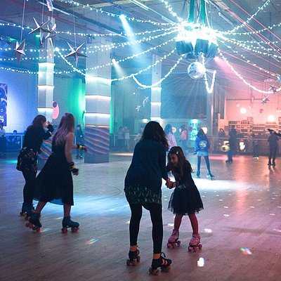 Roller skate under the disco lights with family and friends!