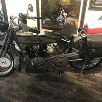 One of the antique Harleys on display