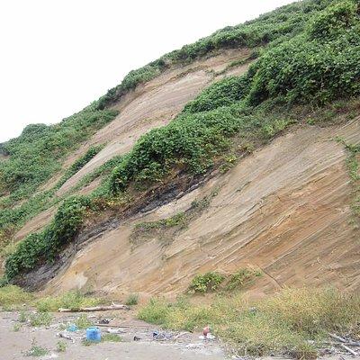 安田(アンデン)海岸にいって、朝鮮白頭山、九州阿蘇山の火山灰層を見つけました。