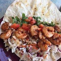 Inside the blackened shrimp taco...