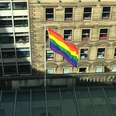 The view from the Free Trade Hall during Pride 2017