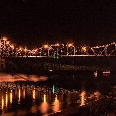 Night view of the Black Hawk Bridge, Lansing, Iowa