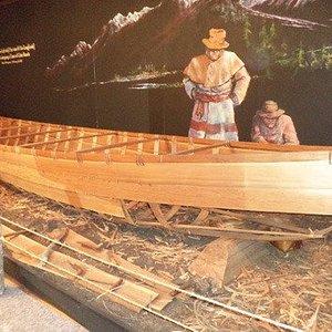Indian canoe on display