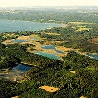Blick von einem  Ballon auf die Osterseen und den Starnberger See