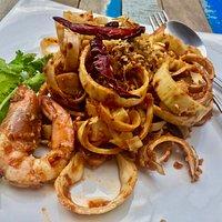 Yum Hau Plee (banana blossom salad with chicken and prawns)