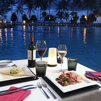 Romantic poolside dining at the Portofino Terrace