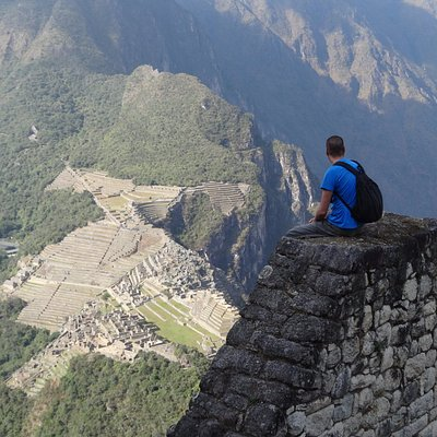 "Observing from the highest ""Huayna Picchu"" the Inca citadel of Machu Picchu !!."