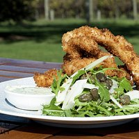 Crispy, delicious Flathead tails. With green goddess dipping sauce