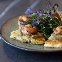 New Season NZ scallops, halloumi, caper, white raisin