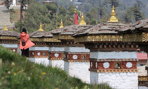 Dochula Pass - the 108 chortens (stupas) built by the present Queen Mother of Bhutan where all the tourist stop for the spectacular views of the Eastern Himalayan Mountain range