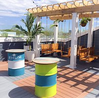 Rooftop Terrace with lounge seating and full menu.