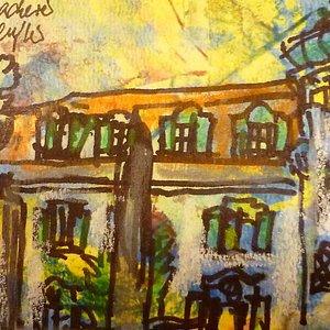 Meine Zeichnung entstand auf dem großen Balkon des Hildebrandhauses
