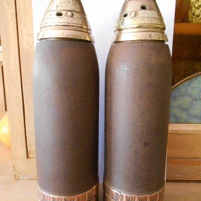 Deux obus anglais de la 1ère guerre mondiale