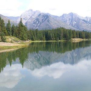 Johnson Lake near Banff on the Lake Minnewanka Loop. It is peaceful and a lovely walk around lak