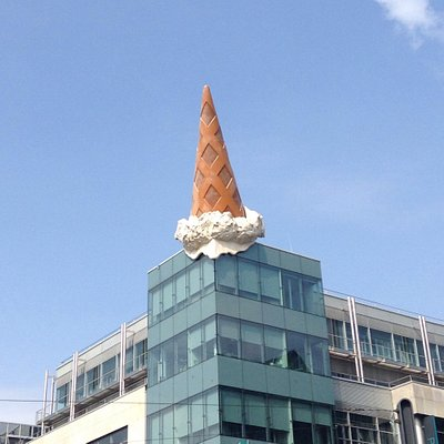 Ice cream cone dropped on the roof of a shopping mall