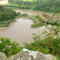 Looking from the quarry towards the reserve and chapel on the banks of the River Wye (top)