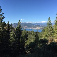 View of the Okanagan valley and lake from the trail