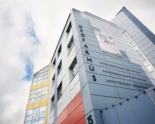 The façade of The Reykjavík City Library in downtown Reykjavík