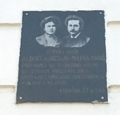 Albert Einstein and Mileva Maric memorial plate