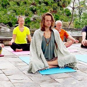 Meditation on silent yoga retreat