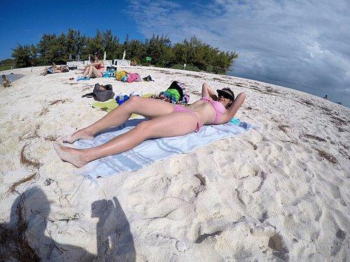 Gabrielle island sunbathing