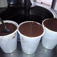 Questa è la meravigliosa granita al cioccolato dopo la preparazione