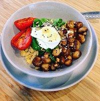 Quinoa with poached eggs & mushrooms - delicious!