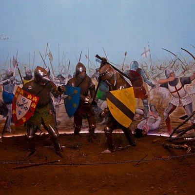 Diorama que representa o momento em que Martim Gonçalves salva o Rei D. João I