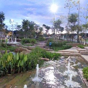 fountain area of park