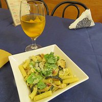 Lovely pasta and local white wine with peaches, Docsicil Deli