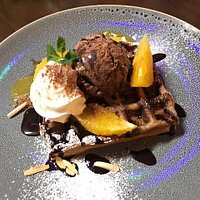 Choc chip waffle with orange and chocolate ice cream...yummm!