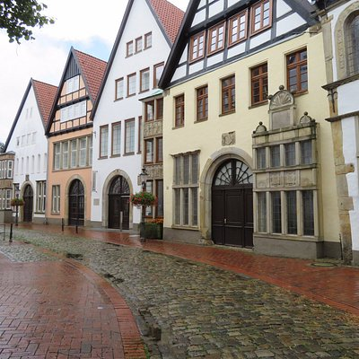 The several historical houses in which the Mindener Museum is built.