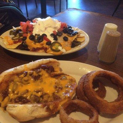 Chili cheese dog and nachos
