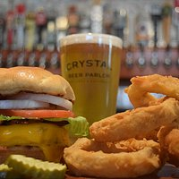 Classic Crystal Burger with homemade onion rings.