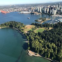 Beautiful view of Stanley Park and downtown, and cruise ship dock
