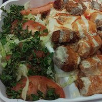 Falafel Plate (Falafels on right, with Potatoes, Salad and Tabouleh on the left)