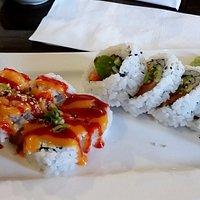 spicy tuna, salmon-avocado roll
