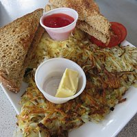 Veggie omelet with hash browns and wheat toast