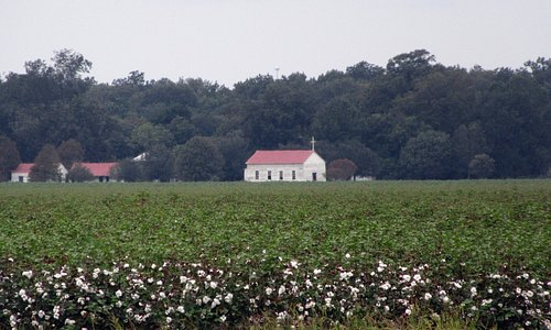 The cotton plantation with the original church still in use.