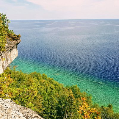View of Georgian Bay during the Mystery Rocks Eco-Adventure from ancient Escarpment cliffs